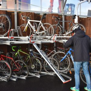Dutch Two Tier Bike Rack in action.